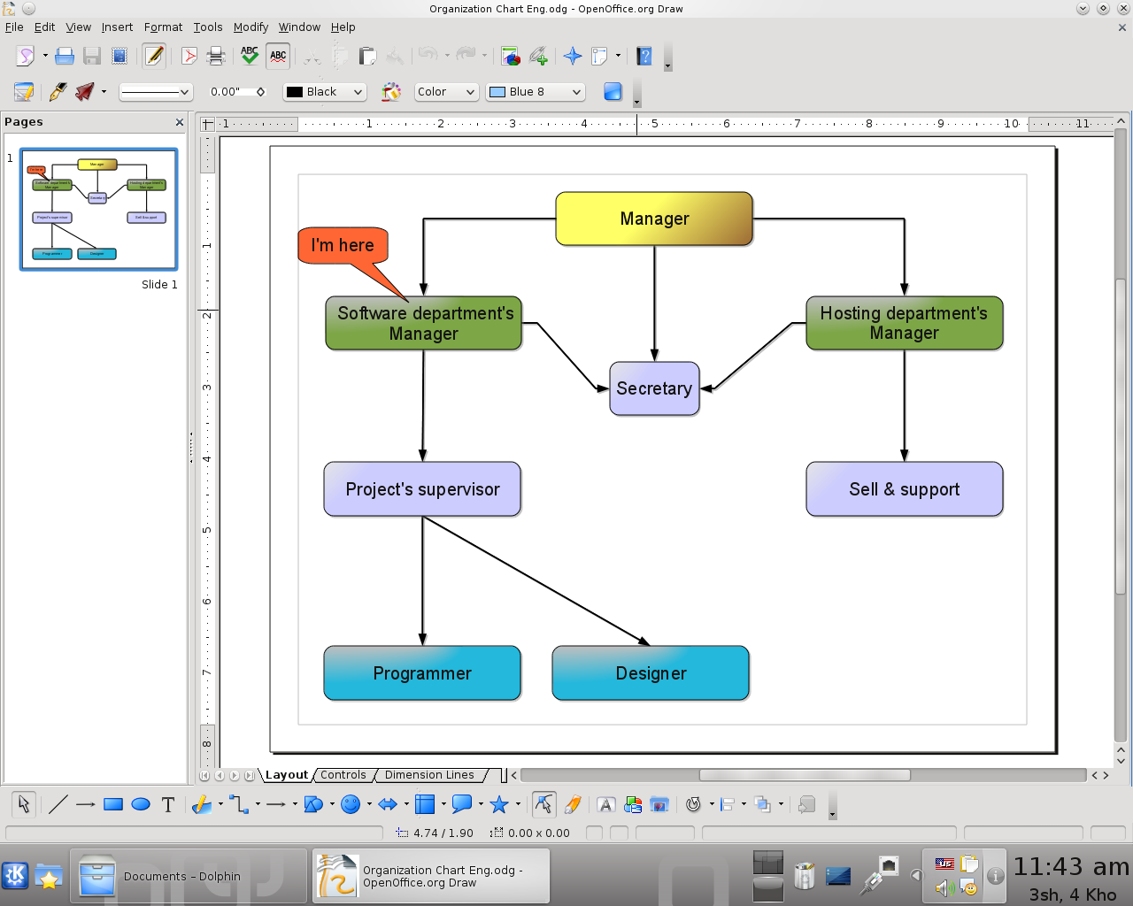 Drawing organization charts easily with openoffice draw